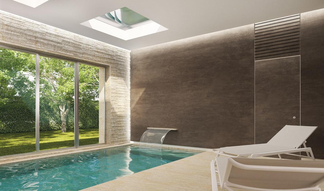 In Via Bellini, l'area piscina si può trasformare in sala fitness