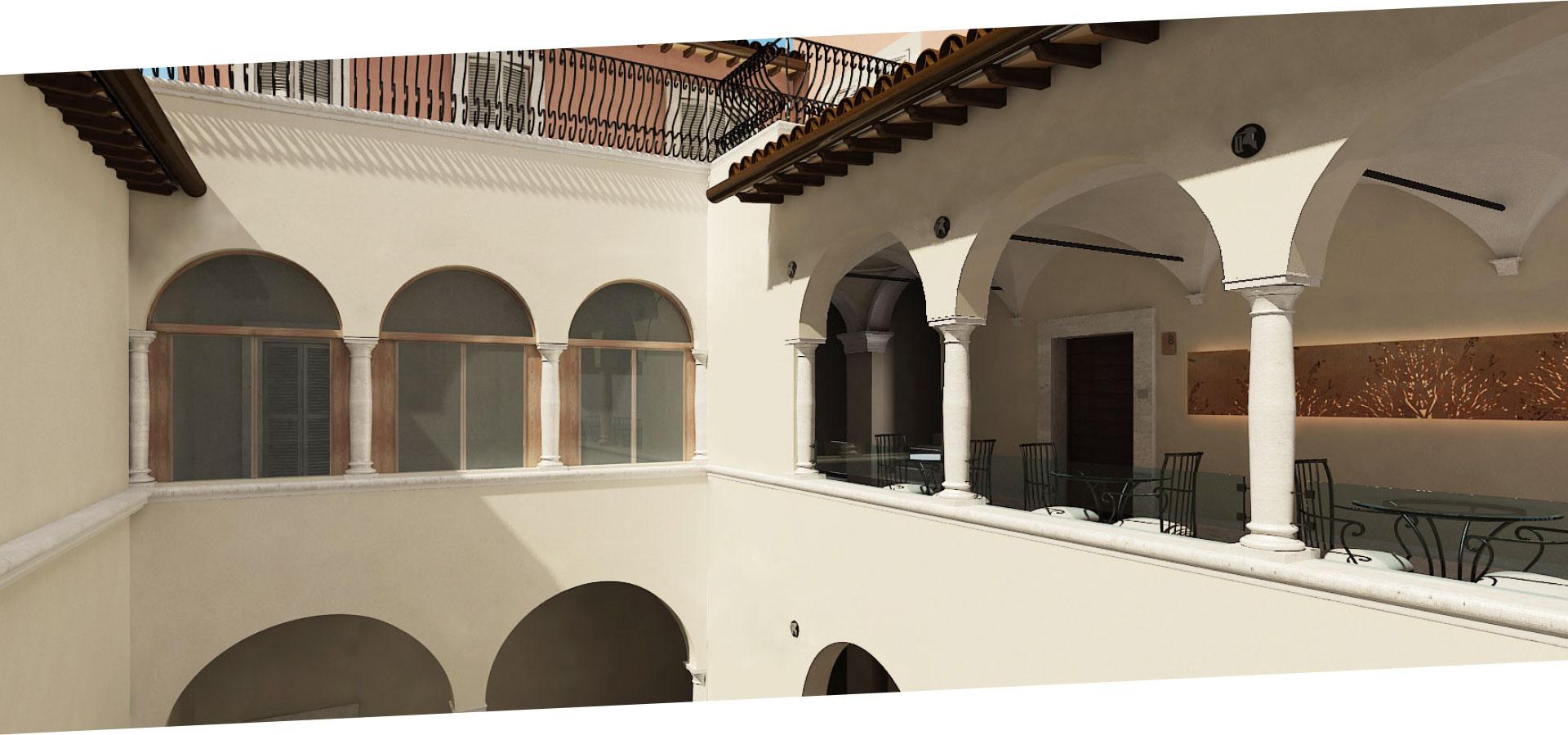 Il colore che domina il restauro di Palazzo Sgariglia è il bianco